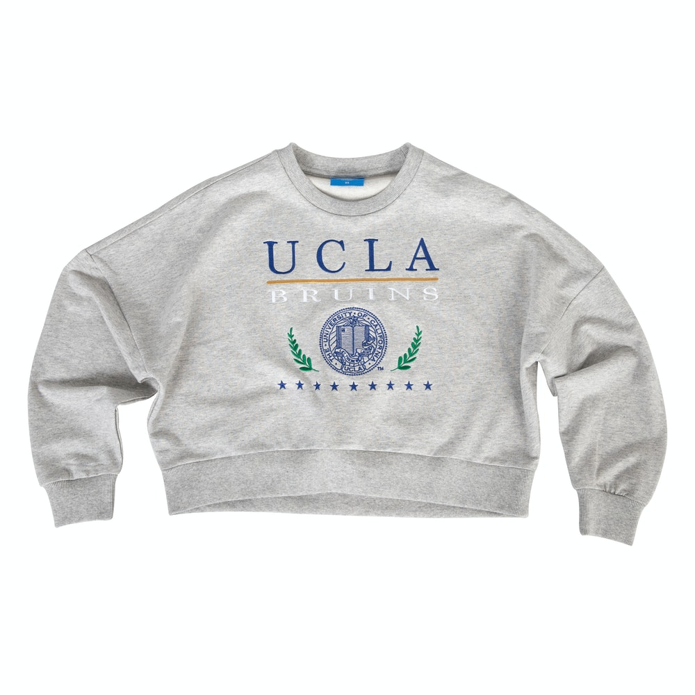UCLA VINTAGE PUFF CROPPED SWEATER GREY