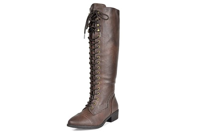 DREAM PAIRS Koson Knee High Lace-Up Riding Boots