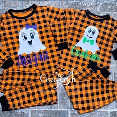 Personalized Ghost Plaid Halloween Pajamas