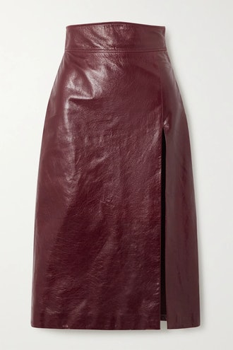 Textured Glossed-Leather Pencil Skirt