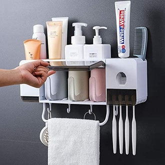 BHeadCat Toothpaste Dispenser and Bathroom Shelf