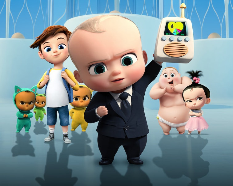 A group of animated babies looks at the camera.