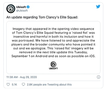 """Ubisoft removed the """"raised first"""" imagery from Elite Squat over its similarity to Black Lives Matter symbolism."""