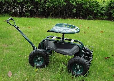 KARMAS PRODUCT Steerable Garden Stool Cart