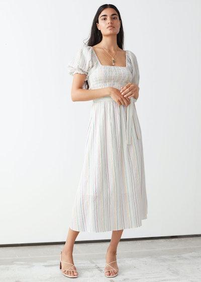 Belted Puff Sleeve Midi Dress