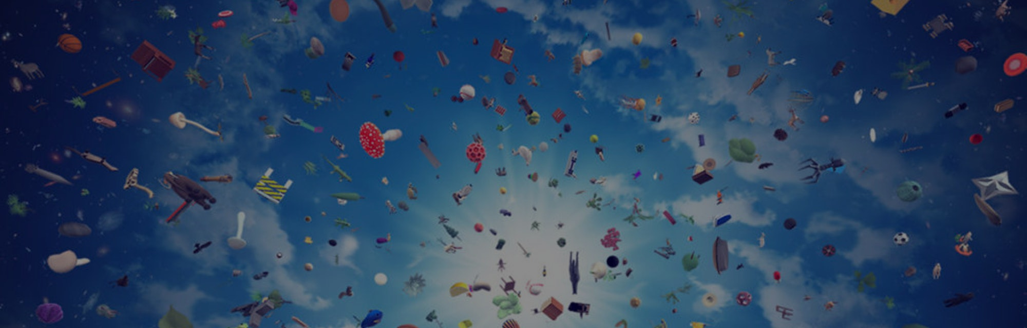 A photo of various objects, animals, plants, and more swirling in the sky.