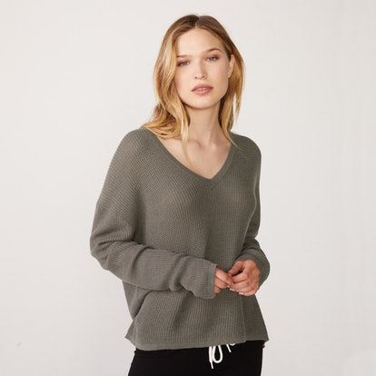 Cashmere V-Neck Thermal Sweatshirt