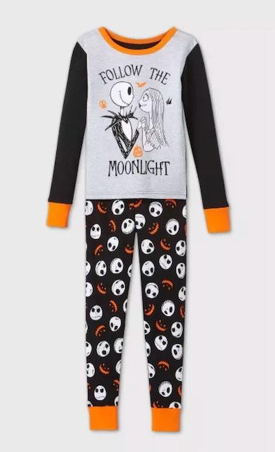 Girls' The Nightmare Before Christmas Jack & Sally Tight Fit 2pc Pajama Set