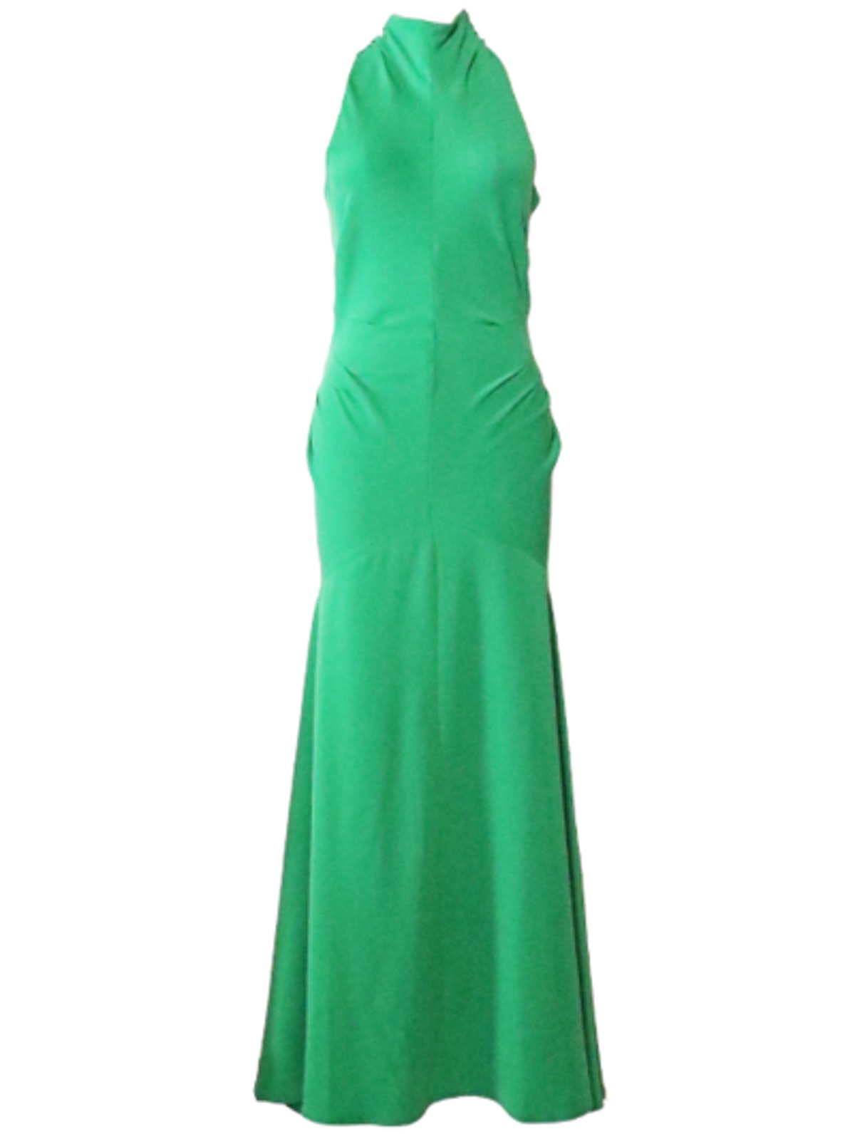 Long Tucked Halter Dress with Bow