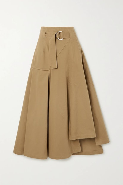 Space for Giants Belted Asymmetric Pleated Organic Cotton-Twill Skirt