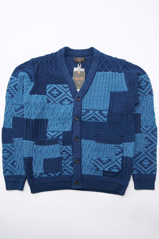 Indigo Cotton Patchwork Jacquard Cardigan
