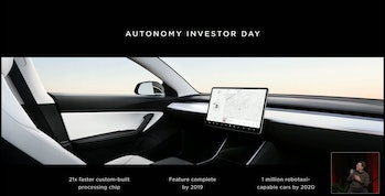 A steering wheel-free Tesla as unveiled at the company's shareholder meeting.