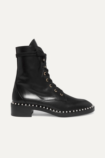 Sandra Faux-Pearl Embellished Leather Ankle Boots