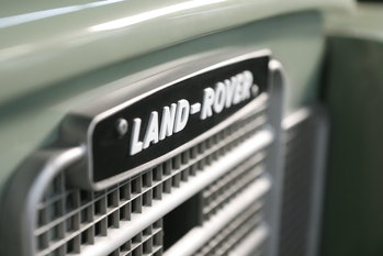 The Land Rover logo on the front of a Zero Labs electric conversion