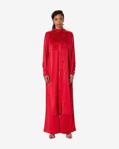 Ruched Silk Tuxedo Shirt Dress