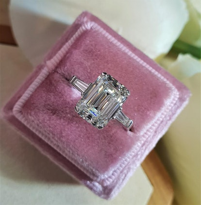 Emerald Cut Lab-Created Diamond Engagement Ring