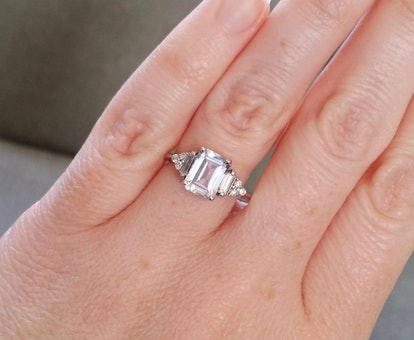 """The Margo"" Antique White Sapphire Diamond Engagement Ring"