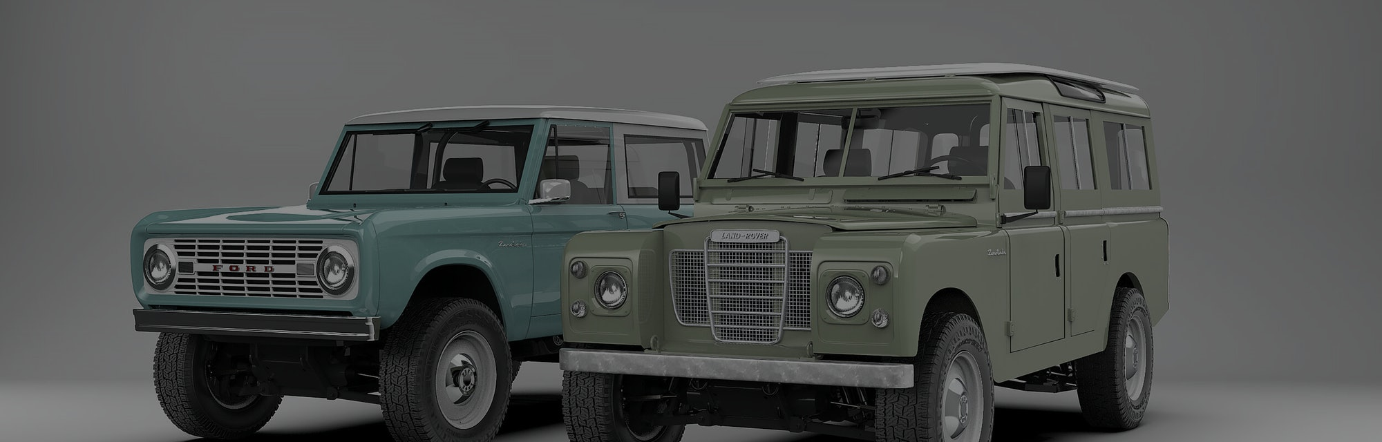 Zero Labs' electrified Land Rover and Bronco in a studio