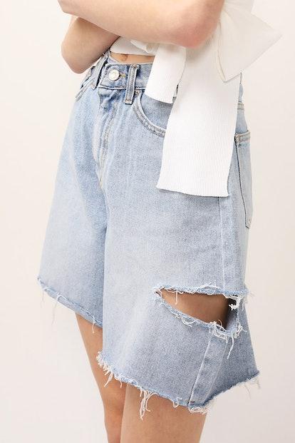 Maria Ripped Slash Denim Shorts