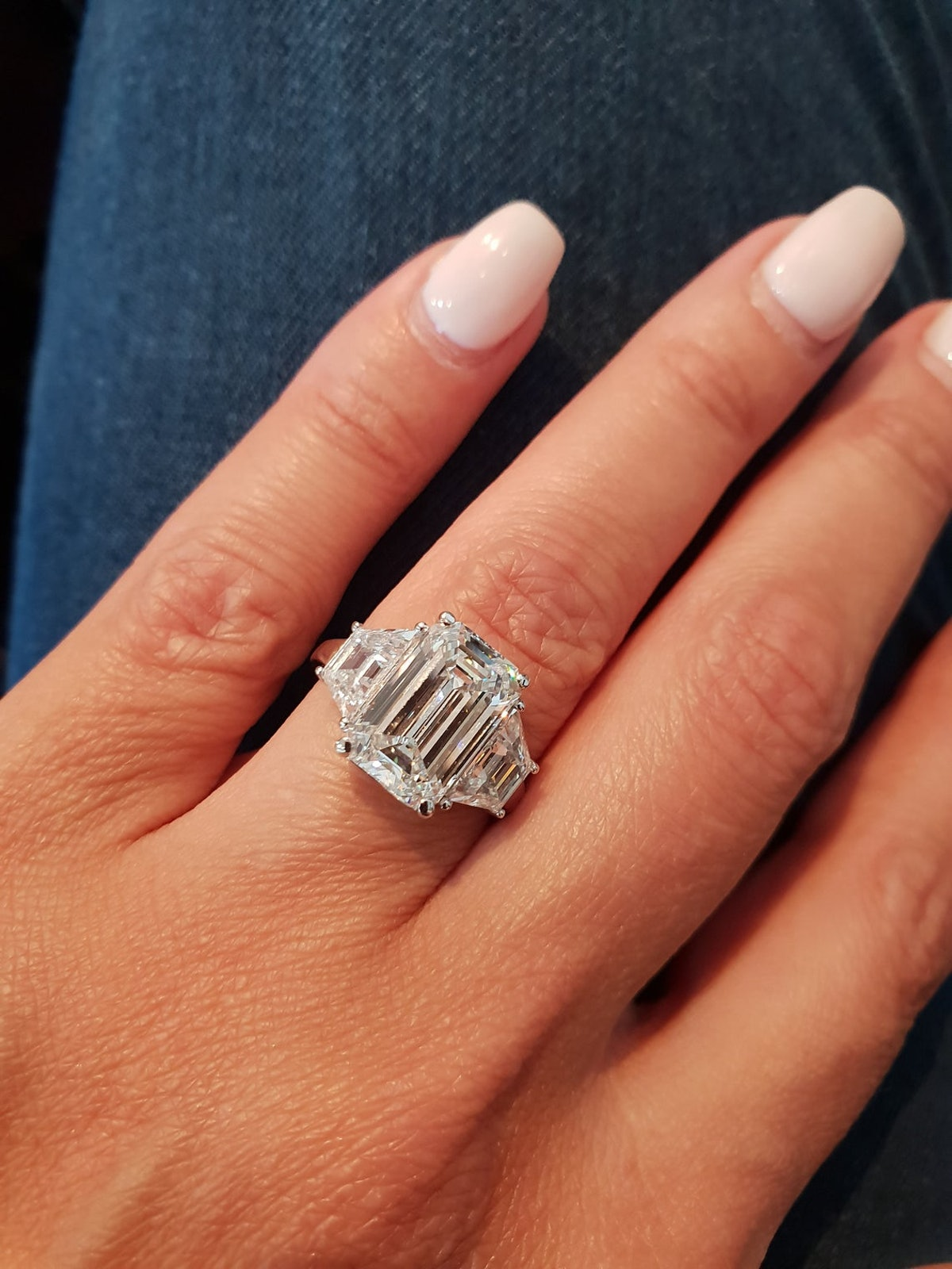 Emerald Cut Diamond Square Engagement Ring