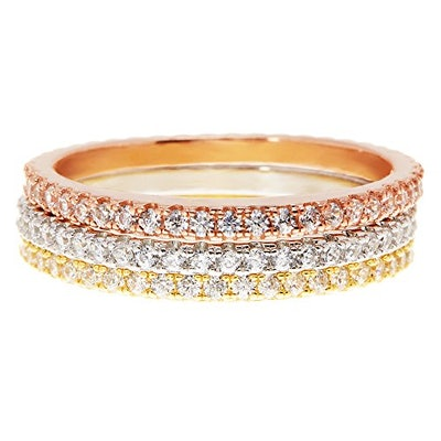 PAVOI Tri Color Silver Cubic Zirconia Stackable Eternity Rings (Set of 3)