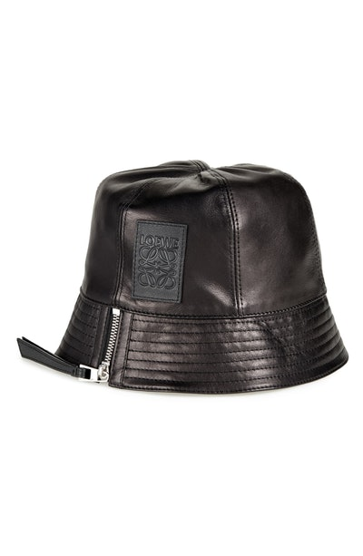 Logo Patch Leather Bucket Hat