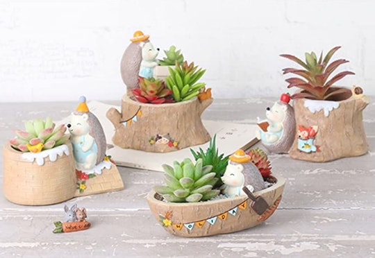 These miniature succulent pots with tiny animals are sure to brighten your day.