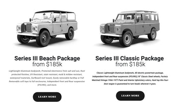A screenshot of the Zero Labs website where it outlines the details of its Land-Rover variants
