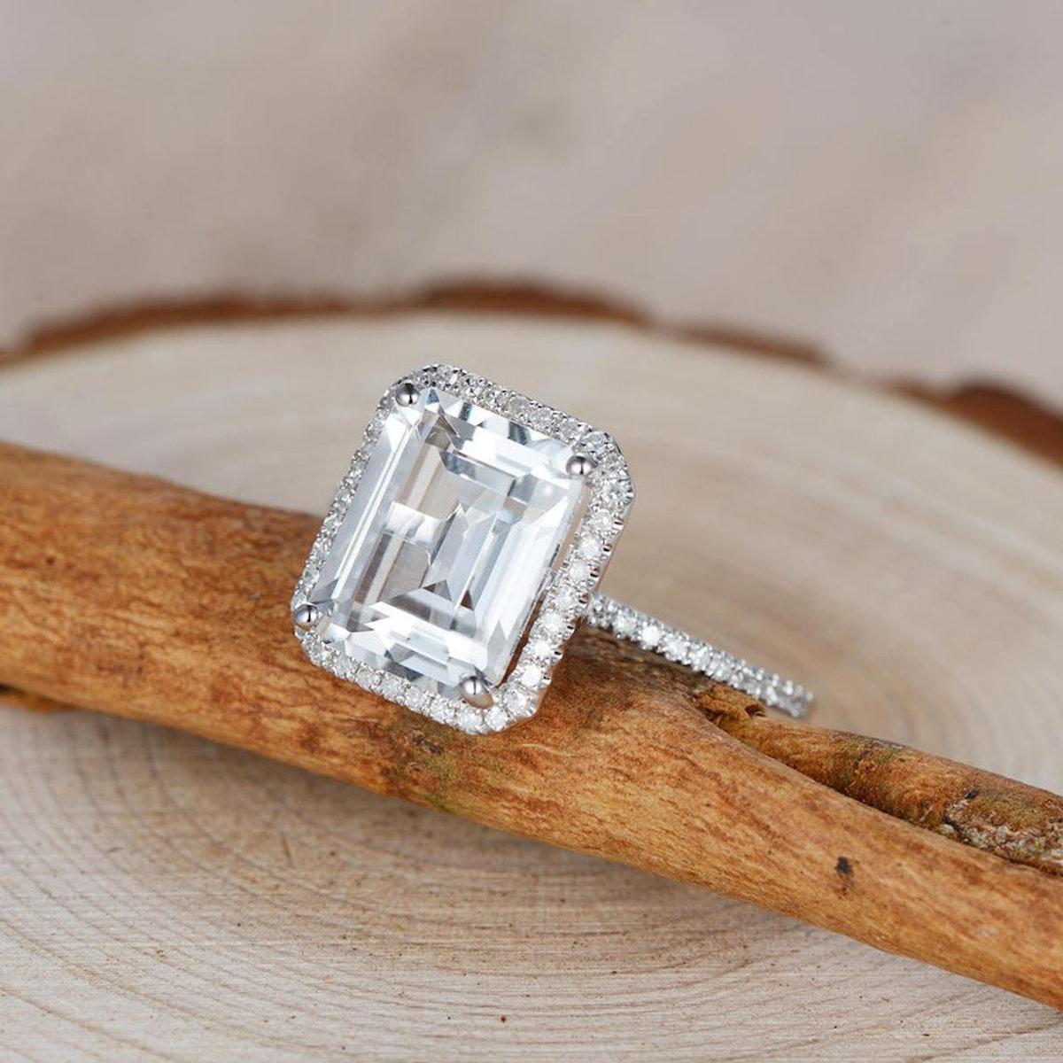 White Topaz Halo Ring