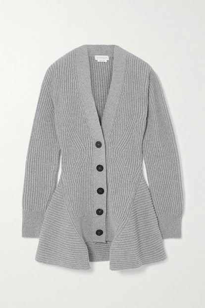Asymmetric Ribbed Wool And Cashmere-Blend Cardigan