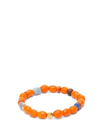 Aquamarine, Tiger's Eye & 18kt Gold Bead Bracelet