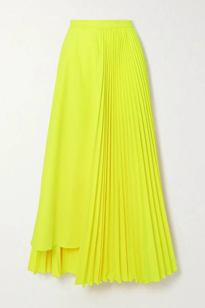 Neon Asymmetric Pleated Poplin Skirt