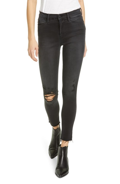 Le High Ripped Raw Hem Crop Skinny Jeans