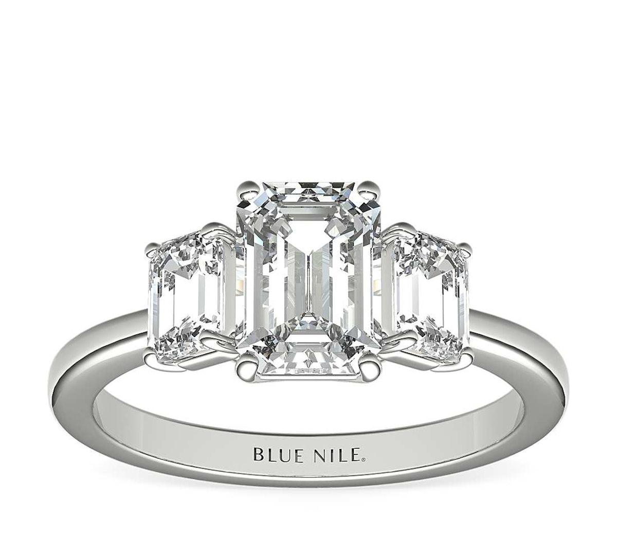 Step Cut Trapezoid Diamond Engagement Ring