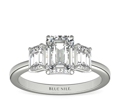 Step Cut Trapezoid Diamond Engagement Ring