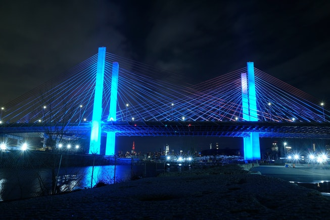 The Kosciuszko Bridge is illuminated in blue as part of the #LightItBlue for Health Workers movement...