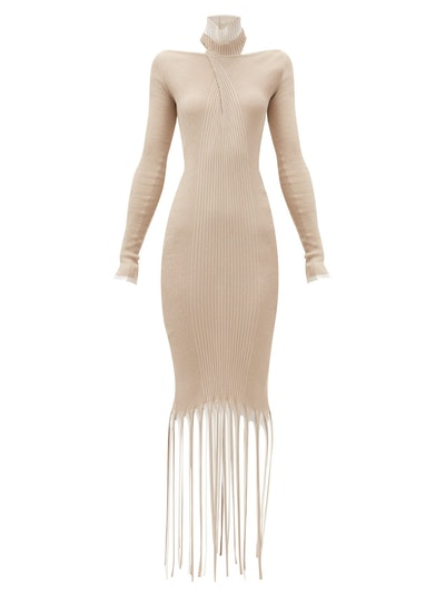 High-neck fringed cotton-blend knitted dress