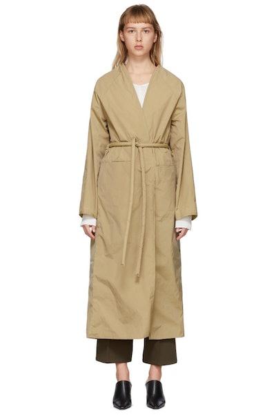 Tan Taffeta Trench Coat