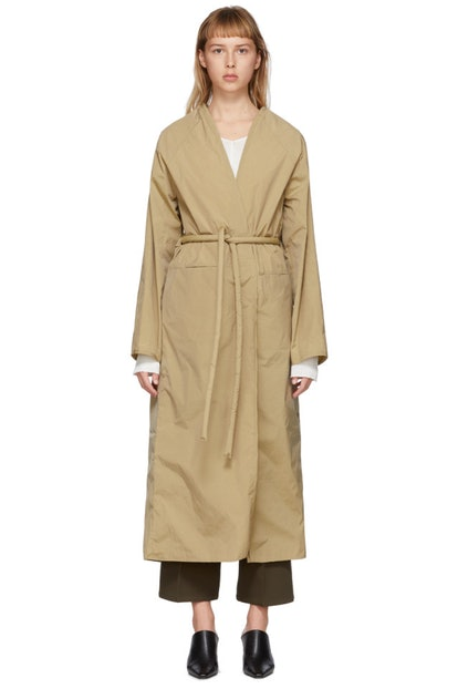 Tan Taffeta Trench Coat