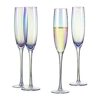 Iridescent Champagne Flutes (Set of 4)