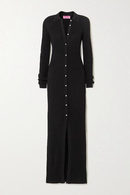 Bern Swarovski Crystal-Embellished Ribbed Maxi Dress