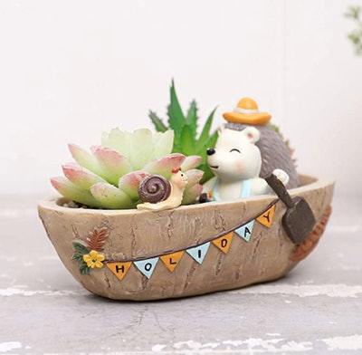 Cute Forest Hedgehog Holiday Succulent Pots