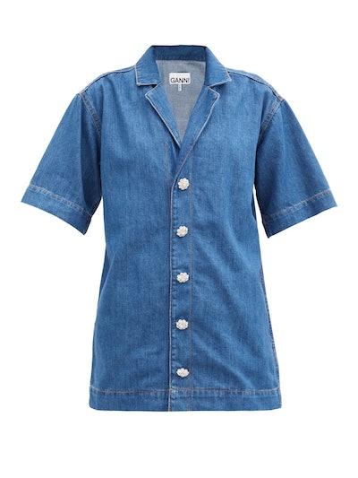 Crystal Button Cotton-Blend Denim Shirt