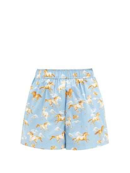 Horse-Print Cotton Shorts