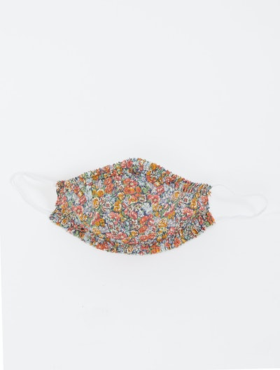 Face Mask With Ruffle - Mustard Floral
