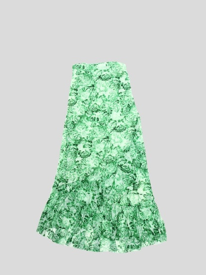 Printed Mesh Maxi Skirt