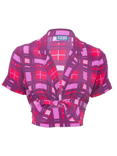 Carles Crop Blouse, Purple Plaid