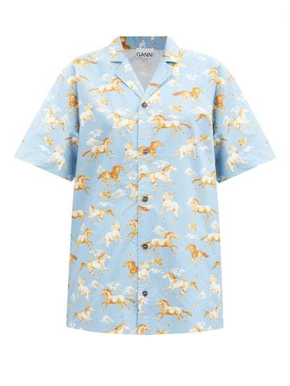 Horse-Print Cotton Shirt