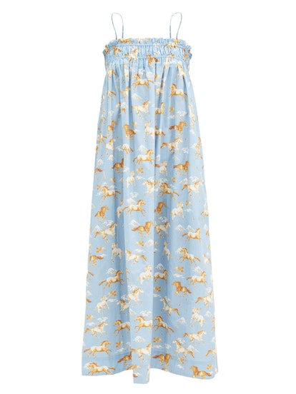 Shirred Horse-Print Cotton Midi Dress