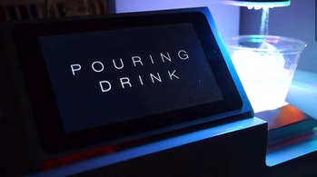 A close-up of the display of an automatic drinks-making machine